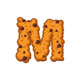M letter cookies. Cookie font. Oatmeal biscuit alphabet symbol. Royalty Free Stock Photos