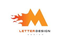 M Letter Flame Logo Design Fuego Logo Lettering Concept Fotografía de archivo