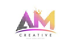 AM A.M. Letter Logo Design avec les points et le bruissement magenta Photos libres de droits