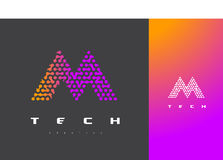 M Letter Logo Technology Dots Letter Design Vector relié Photo libre de droits