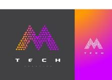 M Letter Logo Technology Dots Letter Design Vetora conectado Foto de Stock Royalty Free