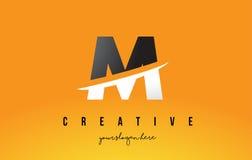 M Letter Modern Logo Design avec le fond et le bruissement jaunes illustration stock