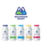 M letter. M monogram. Mountain Dairy Products logo. Letter M is like mountains. Packaging design. vector illustration