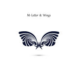 M-letter sign and angel wings.Monogram wing vector logo template Royalty Free Stock Images