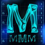 M Letter Vector. Capital Digit. Roentgen X-ray Font Light Sign. Medical Radiology Neon Scan Effect. Alphabet. 3D Blue. Light Digit With Bone. Medical, Pirate Stock Photography