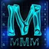 M Letter Vector Hauptstelle Röntgenröntgenstrahl-Guss-Licht-Zeichen Medizinische Radiologie-Neonscan-Effekt Alphabet Blau 3D Stockfotografie
