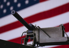 M1919A4 Light Machine Gun. In front of American Flag Royalty Free Stock Images