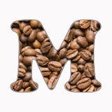 M, list abecadło - kawowych fasoli tło ilustracja wektor