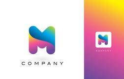 M Logo Letter With Rainbow Vibrant Mooie Kleuren M Colorful T Royalty-vrije Stock Foto