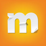 M lowercase letter fold english alphabet design. The new design of the English alphabet, m Lowercase letter was folded paper some of the letters. Adapted from Royalty Free Stock Image