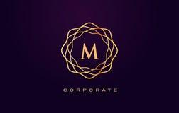 M Luxury Logo Vetor do projeto de letra do monograma ilustração do vetor