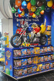 M&M candy mascot puppies riding a custom motorbike at M&M Store Royalty Free Stock Photos