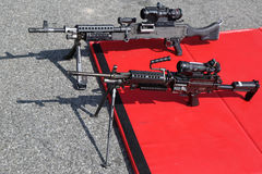 M249 and M240 light machine guns Royalty Free Stock Images