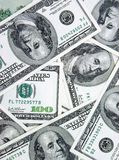 M-m-money!. Closeup view of 100 dollars banknotes background Stock Images