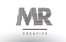 M.M R Black et lignes blanches lettre Logo Design Illustration Libre de Droits