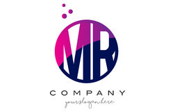 M.M R Circle Letter Logo Design avec Dots Bubbles pourpre Photo libre de droits