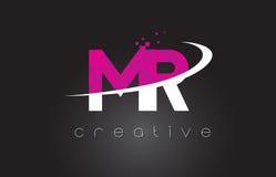 M.M R Creative Letters Design avec les couleurs roses blanches Photo libre de droits