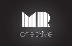 M.M R Letter Logo Design With White et lignes noires Images stock
