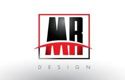 M.M R Logo Letters avec des couleurs et le bruissement rouges et noirs Image stock