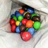 M&M`s chocolate`s in a different colors royalty free stock photos