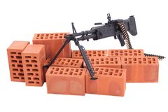 M60 machine gun with amminition tape. Isolated on white Royalty Free Stock Photos