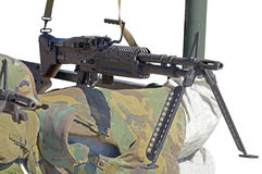 M60 machine gun. On position Stock Photos