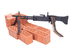 M60 machine gun on position. Isolated on a white background Stock Photos