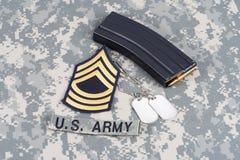 M-16 magazine with ammo on US. Army uniform Royalty Free Stock Photo