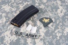 M-16 magazine with ammo on US. Army uniform Stock Photography