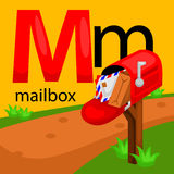 M for mailbox. The letter M for mailbox vector illustration