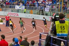 Athlets. 400 m man race on Diamond League in Rome, Italy in 2016 royalty free stock image