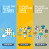 M marketing banners vertical. Flat vector cartoon concepts for M-Commerce. Online sale, internet ordering, delivery goods. Objects isolated on a white background Royalty Free Stock Photo