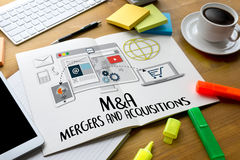 M&A (MERGERS AND ACQUISITIONS) , Mergers & Acquisitions  , Busin Royalty Free Stock Images