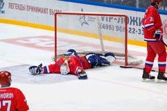 M Mikhaylovsky (20) bepaalt op ijs Royalty-vrije Stock Afbeelding