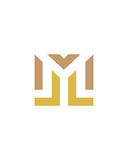 M or ML initial icon financial business insurance abstract Stock Image