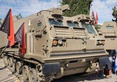 M270 MLRS przedstawiający przy Latrun Ar (Wieloskładnikowy wodowanie rakiety system) zdjęcie stock