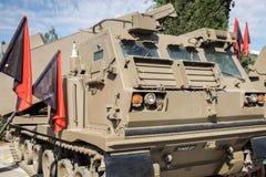 M270 MLRS przedstawiający przy Latrun Opancerzonymi korpusami Muzealnymi (Wieloskładnikowy wodowanie rakiety system) obraz stock
