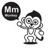 M Monkey cartoon and alphabet for children to learning and color Stock Photography
