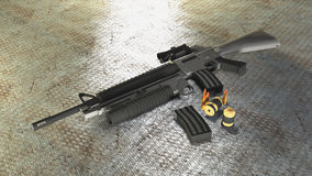 M16. (more formally United States Rifle, Caliber 5.56 mm, ) is the U.S. military designation for a family of rifles derived from the ArmaLite AR-15 and further Royalty Free Illustration