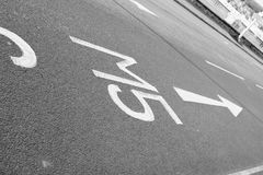 M5 motorway direction. Road markings showing the way to the M5 motorway - filter applied royalty free stock image