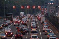 M1 motorway at dusk. Watford, UK - September 24, 2017: Evening traffic jam on British motorway M1.M25/M1 junction Stock Image
