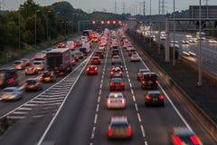 M1 motorway at dusk. Watford, UK - September 24, 2017: Evening traffic jam on British motorway M1.M25/M1 junction Royalty Free Stock Photo