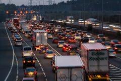 M1 motorway at dusk. Watford, UK - September 24, 2017: Evening traffic jam on British motorway M1.M25/M1 junction stock photo