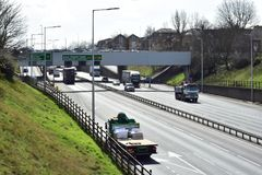 Free moving traffic on the motorway. The A102/M motorway in London that leads to the blackwall tunnel and other major motorways in London surrounds Royalty Free Stock Images