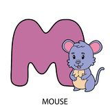 M with mouse. Cartoon alphabet card. Vector illustration of educational alphabet card with cartoon character for kids Royalty Free Stock Photos