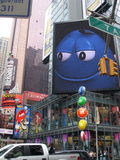 M &Ms guy. Nyc m & m on building Stock Photo