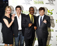 M.Myers; C.Diaz; Eddie Murphy, Antonio Banderas. NEW YORK - APRIL 21: (L-R) Cameron Diaz , Antonio Banderas, Eddie Murphy and Mike Myers, attend the premiere of stock image