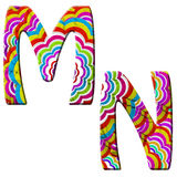 M, N, Colorful wave font illustration. Stock Photos