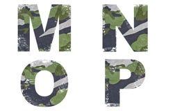 M, N, O, P abecadło Od Militarnej tkaniny tekstury. Fotografia Royalty Free