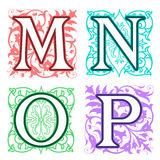 M, N, O, P, alphabet letters floral elements Stock Image